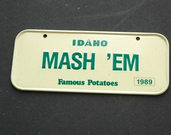 Vintage Mash 'Em Idaho 1989 Mini License Plate Cereal Promotion