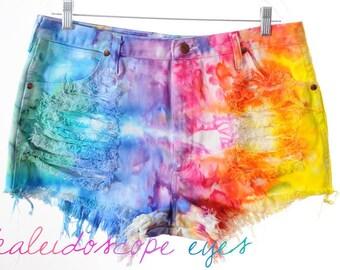 Vintage Wrangler RAINBOW Marbled Dyed Denim Destroyed High Waist Cut Off Shorts XXL