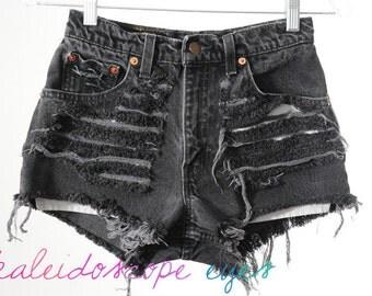 Vintage Levis DESTROYED Black High Waist TRASHED Denim Cut Off Shorts XS