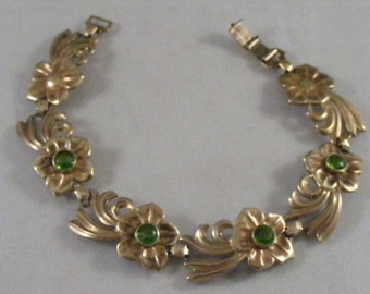 Vintage Art Nouveau W.E. Richards Symmetallic Bracelet in Sterling Silver and 14K Gold....  Lot 3515