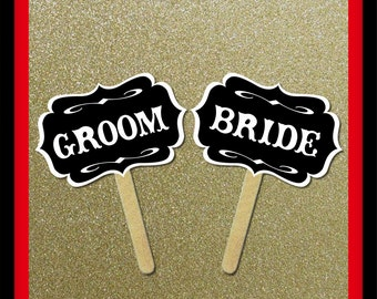 Bride Groom Signs - 2 Piece Set - Wedding Party Photo Booth Props