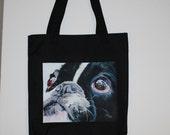 French Bulldog art image on a Black Flexar Canvas Tote