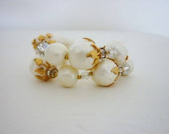 Vintage Classic Cocktail Pearl and Rhinestone Bracelet