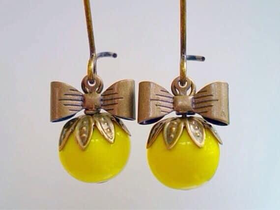 Canary Yellow Czech Glass Sweet Pea Earrings/Yellow Earrings/Bow Earrings/Czech Glass Earrings