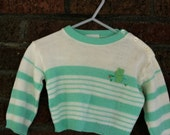 Mint green and White Vintage Toddler Sweater 18mo