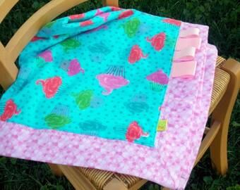 Cupcake receiving blanket. Flannel blanket.