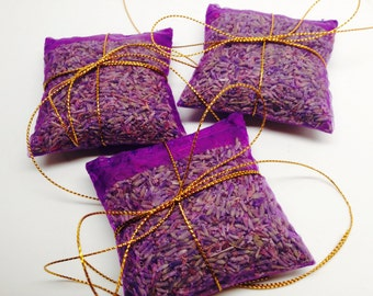 French Lavender Sachets in Sheer Purple Organza