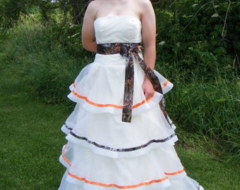 Strapless Organza CAMO Ribbon TIERS Rustic Country Wedding Dress