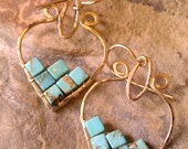 Turquoise Earrings in 14k Gold Fill Natural Turquoise Other Stone Options Available