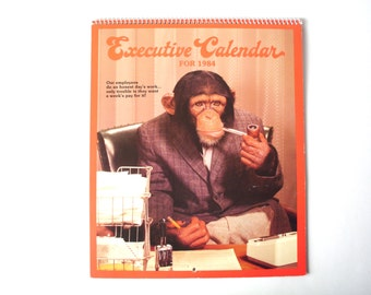 "Vintage Novelty ""Executive Calendar"" from 1984 with Monkeys Dressed as Businesspeople"