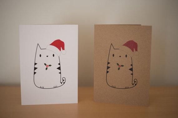 Feuilles de houx de chat mignon imprimer carte de voeux de Noël