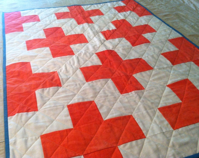 """Hand Dyed Organic Plus Sign Quilt 36"""" x 48"""" Crib Sized Quilt"""