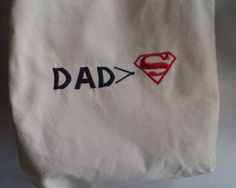 "Dad ""is greater than"" Superman, Dad's Diaper Bag, Gift for new Dad, Men's Diaper Bag, Superhero, Funny, Math symbol"