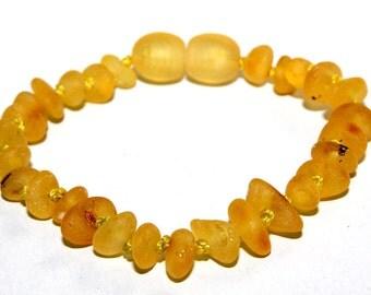 Unpolished Baby Teething Baltic Amber Bracelet or Anklet