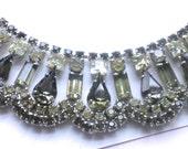 Vintage Rhinestone Necklace Bridal Jewelry Wedding Smoke Grey Mad Men Fashion Accessory