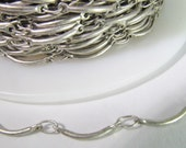 2 Ft Matte Antiqued Silver Scalloped Curve Bar Link Chain Ch215