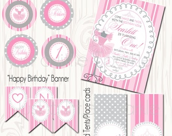 Ballet Birthday printables, printable ballet invitation, Ballet Birthday, Dance Birthday,