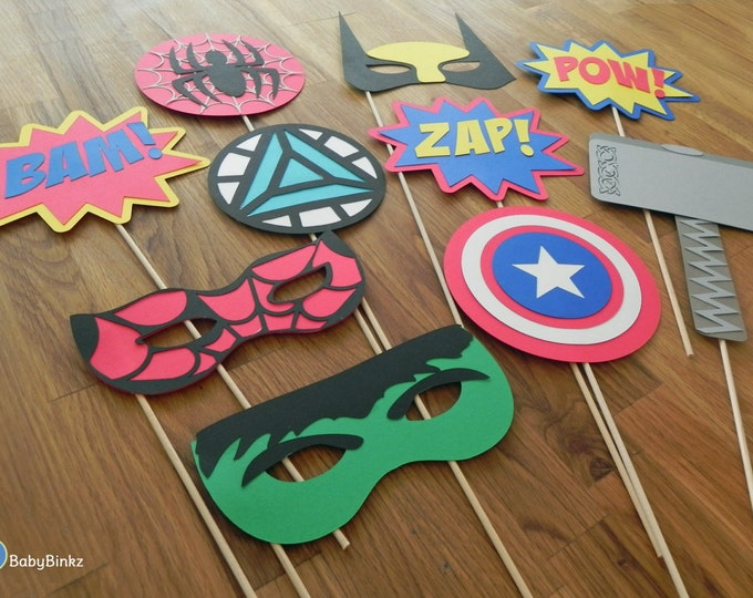 Photo Props: The Marvel Super Hero Set (10 Pieces) - party wedding birthday wolverine thor spiderman hulk america avengers centerpiece