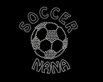 Rhinestone Transfer Soccer Nana Iron On DIY Bling 34191