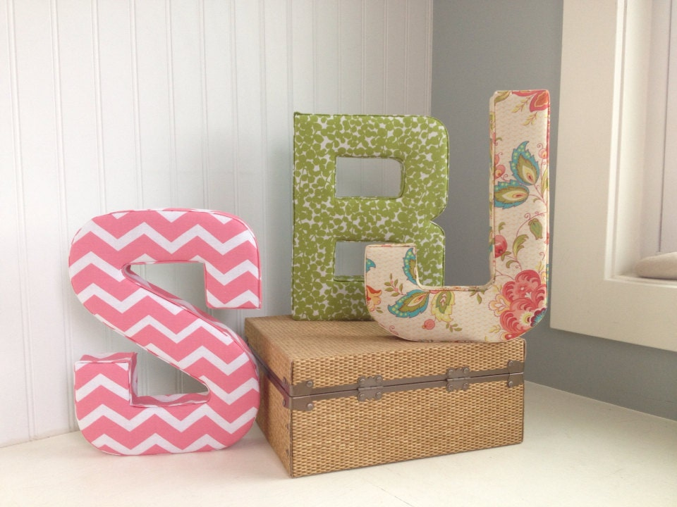 fabric covered letters for nursery - trendy custom fabric letters for home or nursery decor