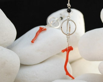 Natural Red Coral and Onyx Sterling Silver Dangle Earrings