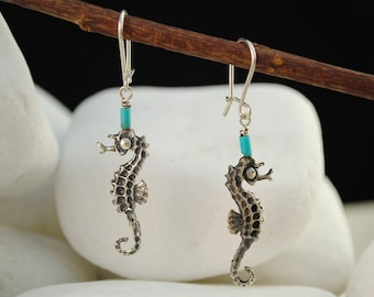 Turquoise Hippocampus/Seahorse Sterling Silver Dangle Earrings