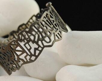 "Bracelet ""City"", Black Rhodium Plated Solid Sterling Silver"