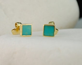 Turquoise 18K Gold Stud Earrings - FREE Shipping