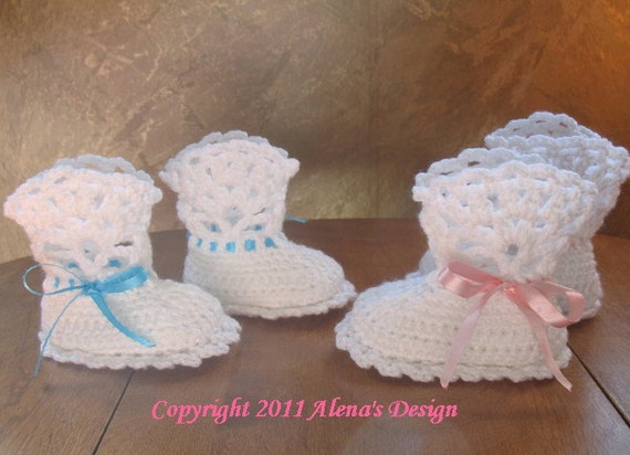 Crochet Pattern 029 White Lace Top Booties Baby Booties