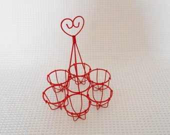 The Lovers Egg Holder Vintage Red Wire Heart Topped