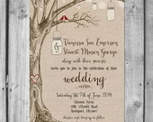 Lovebirds & Mason Jars Wedding Invitation Set