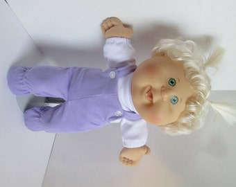 "14"" Baby Girl Cabbage Patch Lavender Footed Bib Overall Set"