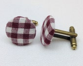 SALE Brown Gingham Upcycled Cufflinks - Unisex Fabric Recycled Cuff Links- Fall Fashion Gift ideas