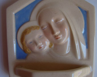 Holy Water Font - France Desvres 20th Century - signed Mano