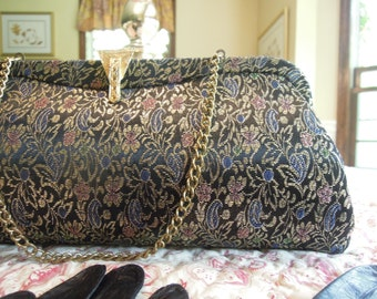 Vintage Metallic Clutch Purse / Black Purse