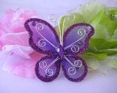 """3"""" Purple Nylon Butterflies for Wedding Decor, Flower Arrangement, Table Scatters, Baptism Favors, Christening Favors, 12 pcs"""