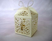 """50 pcs Holy Cross Ivory Favor Boxes for Christening Favors, Baptism Party, First Communion Celebration 2.5"""" Wx 2.5"""" D x 3.5"""" H"""