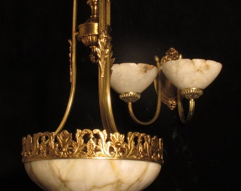 Set of pendant chandelier and pair of wall lights sconces solid bronze & real alabaster by Sergio Merlin