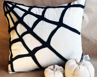 Spiderweb Pillow Cover, spiderweb pillow, Halloween pillow, spiderweb decoration, natural Halloween decor, fall home decor, Halloween decor