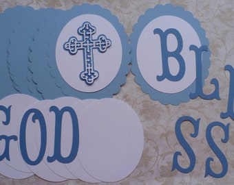 GOD BLESS Scallop Ovals Letters Die Cuts crafts DIY Crafts Baby Boy Baptism Dedication Party Banners You Assemble