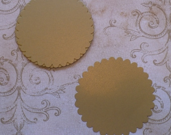10 pc  Large Scallop Circles Die Cuts cut from Gold Shimmer Cardstock 4 DIY Banners, Rustic Wedding Tags Crafts Labels