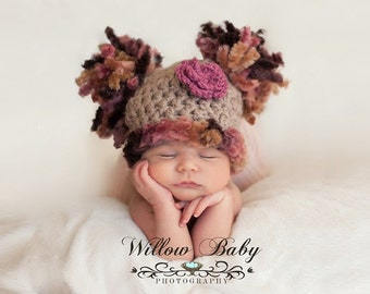 Gorgeous Baby Girl Hat - Baby Hat Taupe with Faux Fur Trim and Pom Pom's with Flower Clip