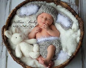 READY Baby Bunny Hat - Baby Hat & Diaper Cover Grey and White, Floppy Ears and Fuzzy Trim and big Fluffy Tail