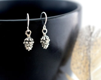 Silver Pine Cone Earrings, Small Silver Earrings, Silver Pinecone Earrings, Tiny Silver Earrings, Simple Woodland Jewelry
