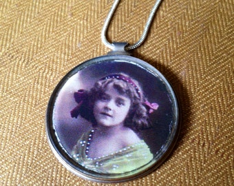 Reversible vintage girl/ sheet music antique monocle pendant necklace, recycled upcycled repurposed