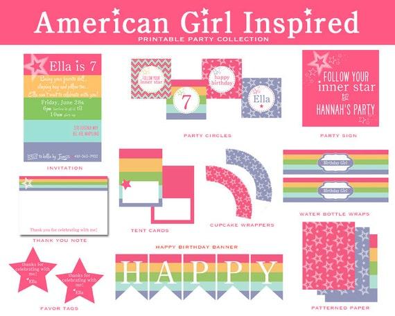AMERICAN GIRL DOLL Inspired Birthday Party Collection Slumber – American Girl Birthday Invitations