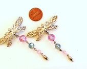 Dragonfly  pendants charms assortment salvaged lot recycle reuse 2 pieces lot 13