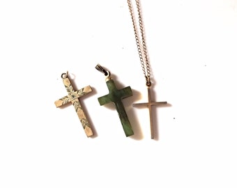 Vintage crosses necklaces green jade and gold filled lot 94