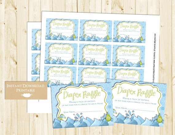 Blue Boy Fishing Printable Diaper Raffle Tickets for Baby Shower INSTANT DOWNLOAD