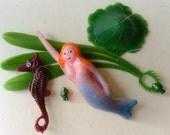 Cute Mermaid Seahorse Float Aquarium Fish Tank plastic toy Decoration Decor Figurine Vintage Hong Kong Old Stock Excellent